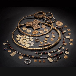 collection of jewelry and coins