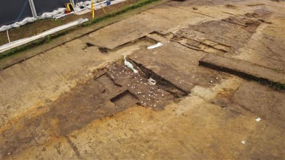 soil, archaeological site, excavation, ship outline
