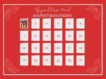 advent calendar, calendar, red background, numbers