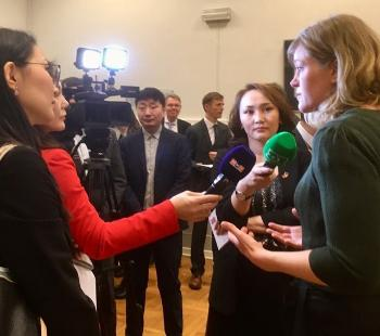 Doctoral research fellow Maria Kartveit is interviewed by Mongolian press.