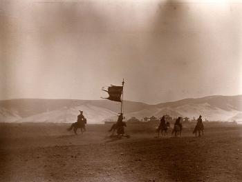 Buddhist lamas riding on their way to Ulan Bator during New Year's Celebrations in 1912.