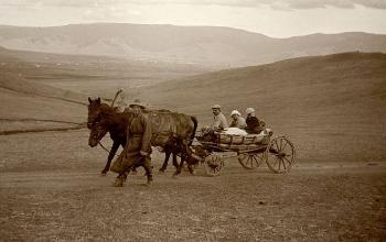 Common transport vehicle in Mongolia in 1911: Horse-drawn carriage.