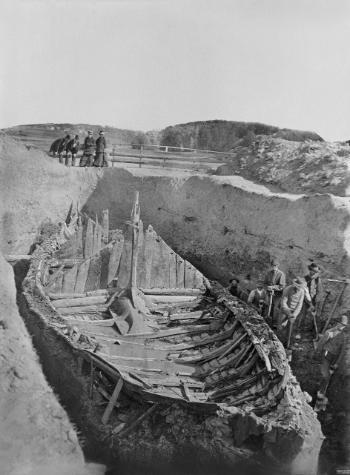 The Gokstad ship in the burial mound.
