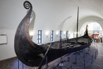 Image may contain: Viking ships, Boat, Longship, Vehicle, Maritime museum.