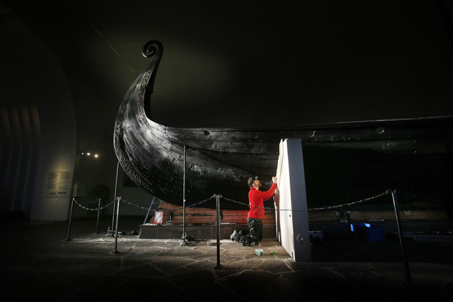 Image may contain: Viking ships, Longship, Night, Stage, Performance.